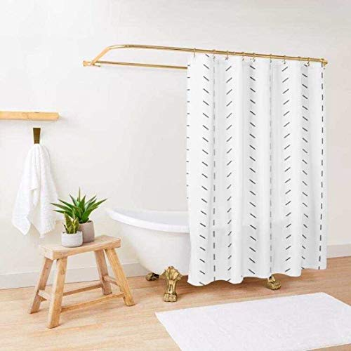 Boho Shower Curtain / Boho White and Black Shower Curtain / Standard Boho Shower Curtain Size 72x72 / Shower Curtain Hooks Included with Boho Shower Curtain / Black and White Shower Curtain