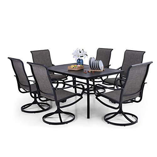 PHI VILLA Patio Dining Set Clearance 7 Piece, 6 Person Outdoor Metal Rectangle Dining Table with 2.6' Umbrella Hole, 6 Swivel Dining Chairs for Garden Deck Restaurant
