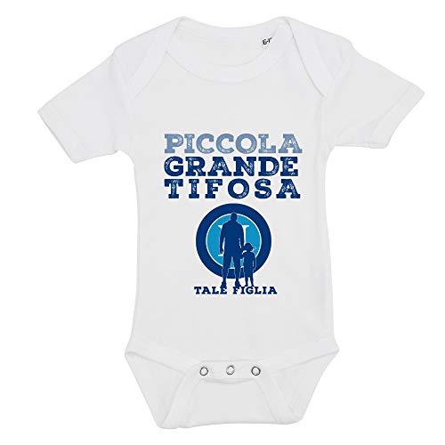 ALL SAS Body pour fille avec impression tifoso football, Naples, 100 % coton, fabriqué en Italie - Blanc - 12- 18 mois