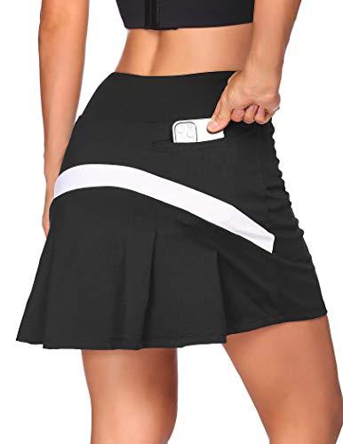 COOrun Damen Sport Rock Tennis Rock Golf Yoga Skort mit Innenhose Taschen Mini Skirt, Schwarz, XL