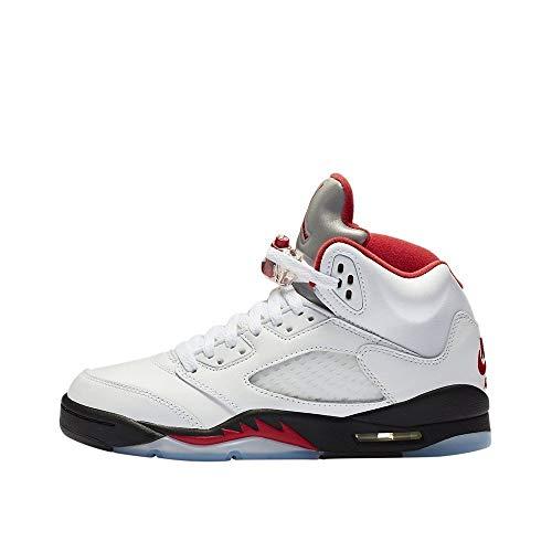 Air Jordan 5 Retro (gs) Basketball Shoes Big Kids 440888-102 Size 5.5 White-Grey