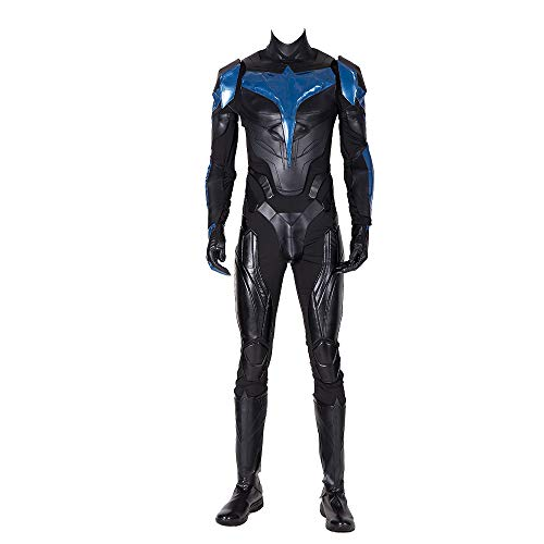 Men's Nightwing Costume Adult Deluxe Leather Outfits Set Halloween Christmas Birthday Gift