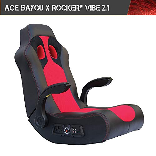 X Rocker, 5172801, Vibe 2.1 Wireless Bluetooth Highback Rocking Video Gaming Floor Chair, Vibration, Foldable, Breathable Mesh, 2 Speakers, 4' Subwoofer, Padded Arms and Head Rest, 23.62 x 14.57 x 17.69, Black/Red