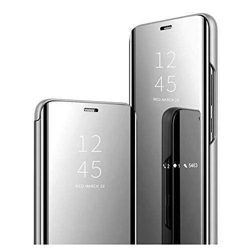 GOGME Funda para Xiaomi Poco X3 Pro, Mirror Funda Inteligente, PU/PC Flip Cover Case Espejo Enchapado Window View Protectora Carcasa con Soporte Plegable. Plata