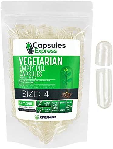 XPRS Nutra Size 4 Empty Capsules Clear Empty Vegan Capsules Capsules Express Vegetarian Empty product image