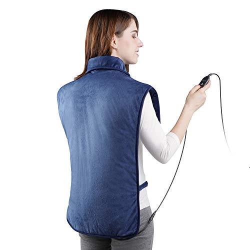 Levesolls Coussin Chauffant 63 x 100cm pour Dos Épaules avec 3 Niveaux de Températures Tissu Ultra-Doux Chauffage Rapide pour Relaxation et Soulager La Douleur