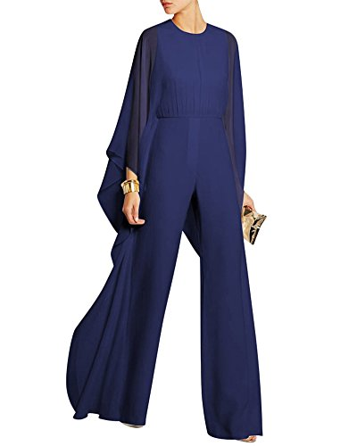 Mujeres Jumpsuits Gasa Manga del Murc Elegantes Traje Pantalones Larga Anchos Monos Azul XL