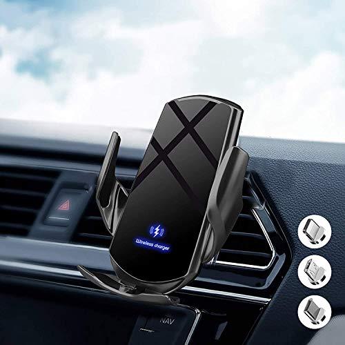 Cargador inalámbrico para coche Qi de inducción automática por infrarrojos de 15 W para iPhone/Galaxy, con 3 adaptadores magnéticos para y todos los teléfonos
