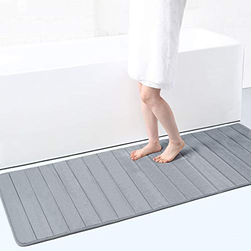 Buganda Memory Foam Soft Bath Mats - Non Slip Absorbent Bathroom Rugs Extra Large Size Runner Long Mat for Kitchen Bathroom Floors 24' x 70', Grey