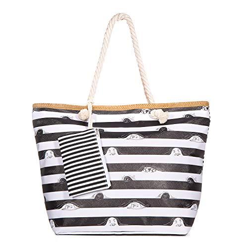 zedela Bolsa de playa grande con cremallera, Bolso de Mano de Lona Mujer, Shopper Bolsa (Raya)