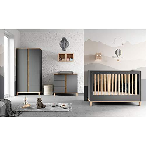 Chambre complète lit évolutif 70x140 - commode à langer - armoire 2 portes Altitude - Gris
