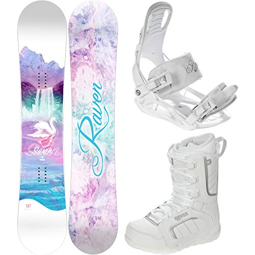 RAVEN Snowboard Set: Snowboard Swan + Bindung Luna + Boots Pearl (150cm + Luna M + Pearl 40)
