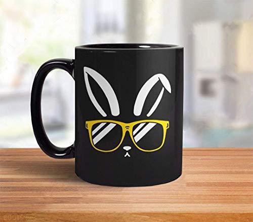 Taza de café divertida linda de Pascua de  Primavera! Regalo de comedor para adolescentes, conejito de Pascua, divertida taza de café con conejo en gafas de sol, cesta de Pascua, taza de café, dec