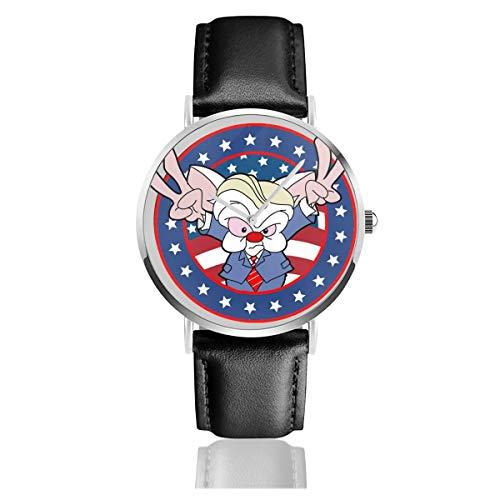 Unisex Business Casual Pinky and The Brain Donald Trump Uhren Quarzuhr Lederarmband schwarz für Männer und Frauen Young Collection Geschenk