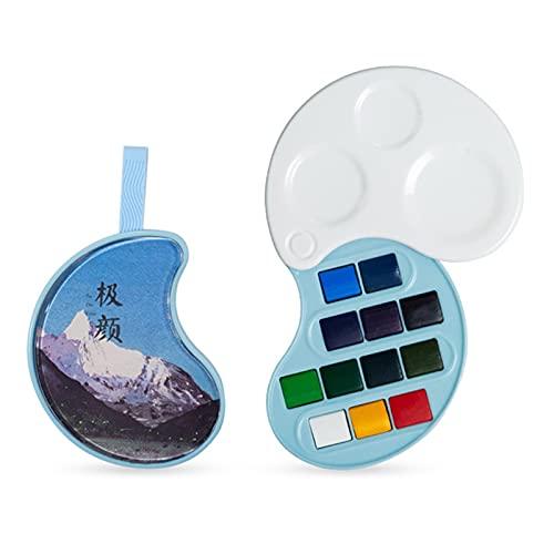 Staright Juego de pintura de acuarela Pintura para ar al agua hecha a mano Tintas de pigmento de acuarela de calidad con esponja incorporada para artistas profesionales de la pintura Pintores