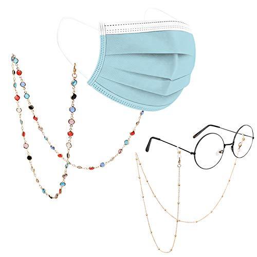 MoKo Cadena para Anteojos Elegante, [4 Piezas] Correa para Gafas de Sol de Metal con Cuentas de Vidrio Multicolor, Soporte Antideslizante para Mujer, Hombres y Adolescentes para Fijar Gafas, Oro