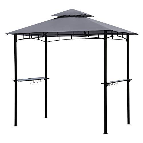 Sekey Grill Pavillon 2.35 x 1.45m, Wasserdicht Gartenlauben Gartenzelt Partyzelt für Garten/Partys/Picknick/BBQ´s, UV-Schutz 50+, Grau