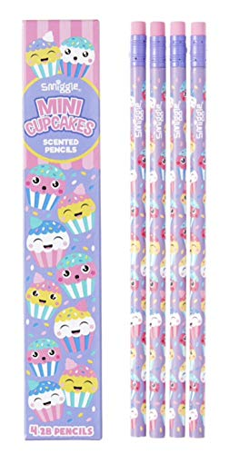 Smiggle Pencils x 4 Pack Scented Wooden With Eraser Top (Mini Cupcakes)