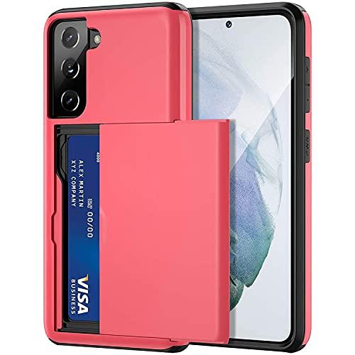 Rugged - Custodia per Samsung Galaxy S21 5G, ultra sottile [scomparti per carte di credito] in lega di alluminio antiurto