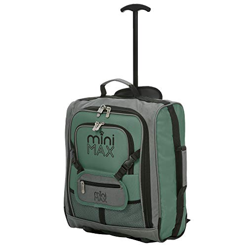 MiniMAX Childrens/Kids Cabin Luggage Carry On Trolley Suitcase with Backpack and Pouch for Your Favourite Doll/Action Figure/Bear (Green)