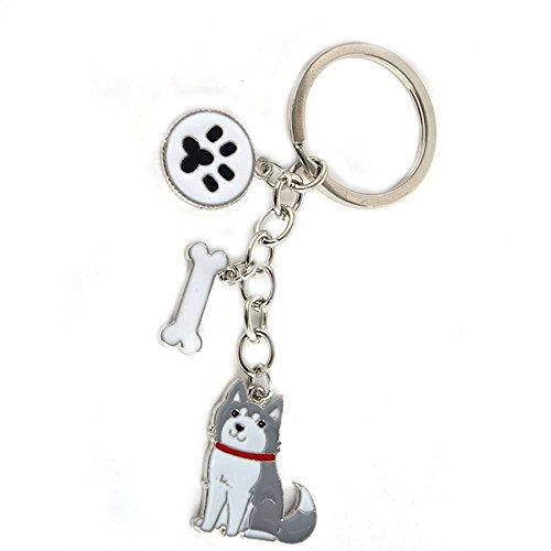 ZoonPark® Hond Sleutelhanger Sleutelhanger, Mooie Leuke Kleine Hond Puppy Sleutelhanger Sleutelhanger Sleutelhanger Sleutelhanger Sleutelhanger Ring Auto Sleutelhanger Tas Bedel, small, Grijze Husky