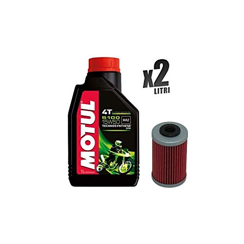 Motorcycle set 2 liter motorolie Motul 5100 15W50 + filter 155