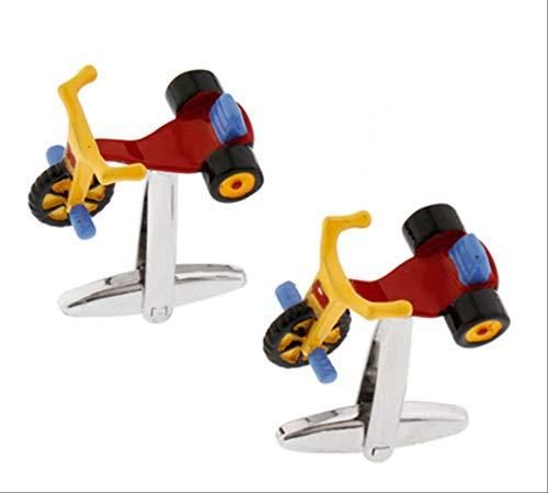 XKSWZD Manschettenknöpfe Kinder Dreirad Manschettenknöpfe Rot 3D-Design Messing Material