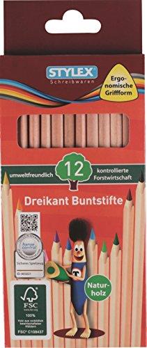 STYLEX 26005 Dreikant Buntstifte, Natur FSC Holz, 12-er Set