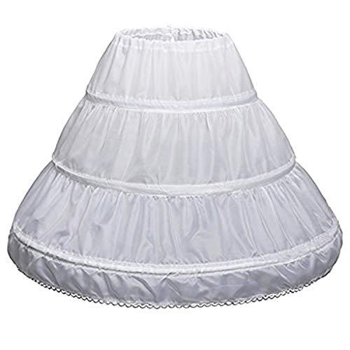 TTYAOVO Medias para nias, Falda de Crinolina Debajo de la Falda de 3 Aros en Nupcial para nias