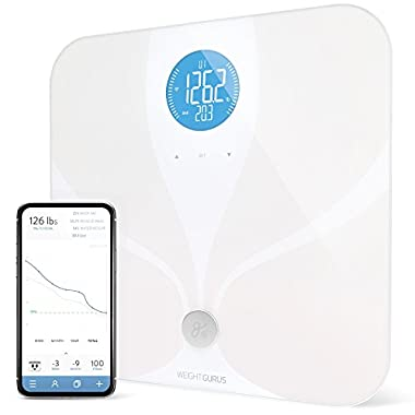 WiFi Smart Body Fat Bathroom Scale by GreaterGoods, Smart and Connected, Backlit LCD, ITO Conductive Surface Technology, Accurate Precision Health Alerts, Measurements, and Monitoring (White)