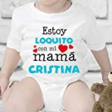 Regalo personalizado: body para bebé o camiseta infantil 'Estoy loquito con mi mamá' personalizable con nombre
