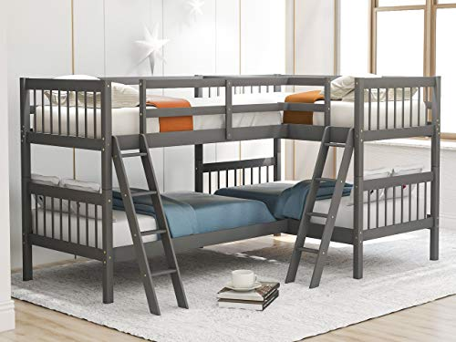 Twin Over Twin Bunk Bed for Kids, Wood L-Shaped Corner Bunk Bed Frame with Full Length Guardrails and Flat Ladder (Grey)