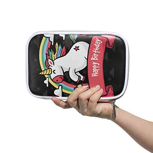 Verjaardagskaart met handgetekende eenhoorn etui Cosmetische tas grote capaciteit Organizer Make-up Koppelingzak voor Travel School