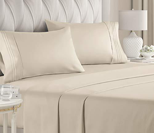 Conjunto de lençóis de cama CGK Unlimited (king, creme)