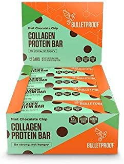 Bulletproof Bars Collagen Protein, Perfect Snack for Keto Diet, Paleo, Gluten-Free, For Men, Women, and Kids (Mint Chocolate Chip) (12 Pack)