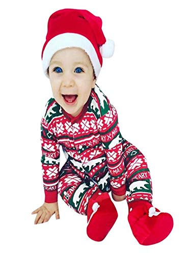 Writtian - Disfraz de Navidad para bebé recién Nacido, niño, niña, Primera Navidad, Ciervo, Papá Noel, Pijama + Pantalones a Rayas + Sombrero, 3 Piezas, Conjunto Rojo, niño, Red02, 80
