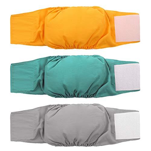 Kuoser Pack de 3 pañales para perros macho, impermeables y superabsorbentes, para cachorros, lavables para mascotas, para perros pequeños, medianos y grandes