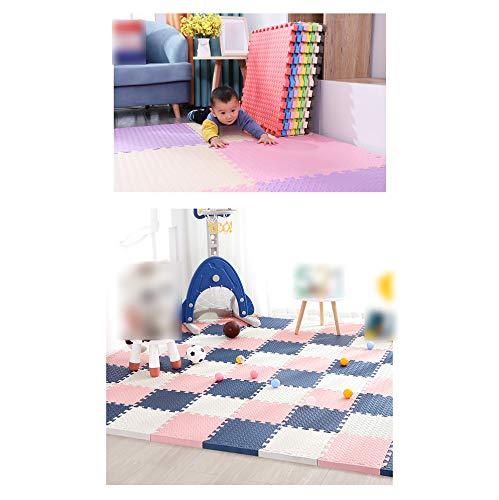 LXZFJW Azulejos Enclavamiento Espuma Puzzle Mat EVA Espuma Mat Enclavamiento Espuma Piso Azulejos+rosa+blanco 30×30×1.2cm 24pcs