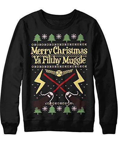 HYPSHRT Herren Ugly Sweater Merry Christmas Filthy Muggle C001070 Schwarz XS