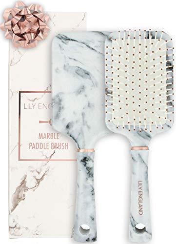 Haarbürste & Paddle Brush in Marmor – perfekte Haar Bürste & Langhaarbürste zum Glätten & Föhnen – für dünnes & dickes Haar, Lily England