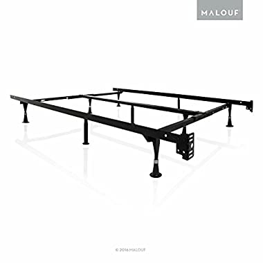 MALOUF STRUCTURES by Heavy Duty 9-Leg Adjustable Metal Bed Frame with Double Center Support and Glides Only - UNIVERSAL (Cal King, King, Queen, Full XL, Full, Twin XL, Twin)