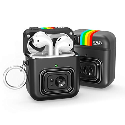 Nicwea Cute AirPods Case with Keychain for Girls/Kids Magnetic Cover Cartoon Camera Rugged Armor Designed Compatible with AirPods 1 & 2 Charging Case [Front LED Visible] - Black