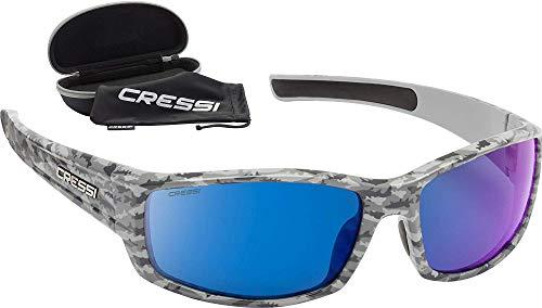 Cressi Hunter Sunglasses Gafas de Sol Deportivo, Adultos Unisex, Gris Camuflaje/Lentes Espejadas Azul, Talla única