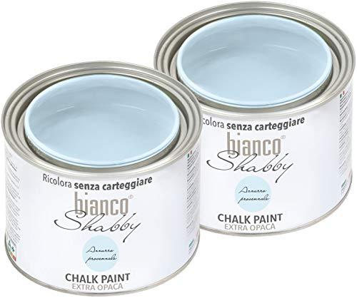 CHALK PAINT Azzurro Provenzale Pittura Shabby Chic Vintage per Mobili e Pareti EXTRA OPACO (2 x 500 ml)