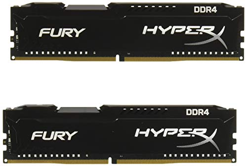 HyperX Fury - Memoria RAM de 16 GB (DDR4, Kit 2 x 8 GB, 2933 MHz, CL17, DIMM XMP, HX429C17FB2K2/16) Color Negro