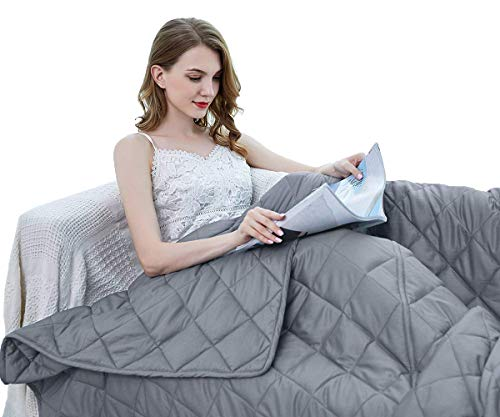 ZZZhen Weighted Blanket - High Breathability - 48''72'' 15LBs - Premium Heavy Blankets - Calm Sleeping for Adult and Kids, Durable Quilts and Quality Construction