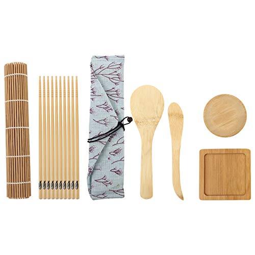Angoily 1 Juego de Herramientas de Fabricación de Sushi Kit de Rodillo de Sushi Bola de Arroz Alfombra de Bambú con Paleta de Arroz Escurridor de Arroz Palillos