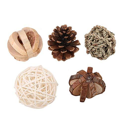 5 Stücke Natürliche Holz Abwechslungsreiche Backenzahnpflege Spaß Spielzeug Set Voll Engagement Aktivität Spielzeug Chinchilla Tunnel Spielzeug Chinchilla Tannenzapfen Rattan Ball