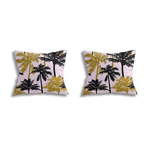Daisylove - Federa per cuscino, con palme, color rosa chiaro, medio silhuettes dorate, super morbida e accogliente, moderna, per divano, letto, sedia, auto, 45 x 45 cm, set da 2