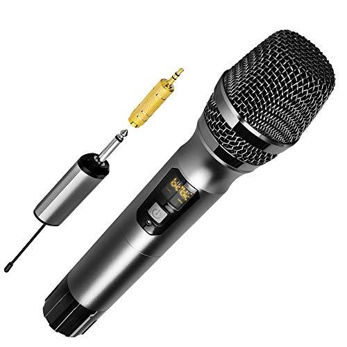 Ankuka Pro Vocal Dynamisches Mikrofon mit XLR auf 6,35 mm Kabel für Audio-Anschluss, professionelles Handmikrofon für Bühne, Karaoke, Gesang, Aufnahme … (Kabelloses Grau)
